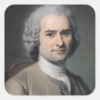Porträtt av Jean-jacques Rousseau Fyrkantigt Klistermärke
