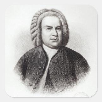 Porträtt av Johann Sebastian Bach Fyrkantigt Klistermärke