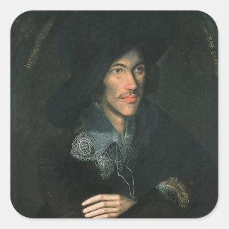 Porträtt av John Donne, c.1595 Fyrkantigt Klistermärke