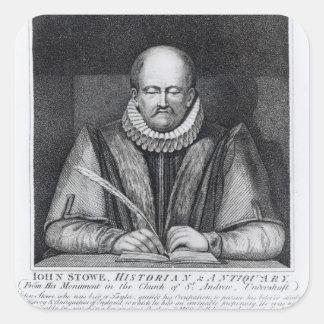 Porträtt av John Stowes från hans monument Fyrkantigt Klistermärke