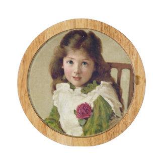 Porträtt av konstnärens dotter (olja på kanfas) rektangulär ostfat