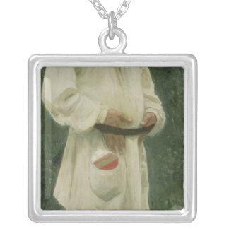 Porträtt av leven Tolstoy 1901 Silverpläterat Halsband