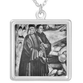 Porträtt av Luca Signorelli och Fra Angelico Silverpläterat Halsband