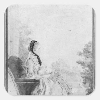 Porträtt av Madam du Deffand, 1760 Fyrkantigt Klistermärke