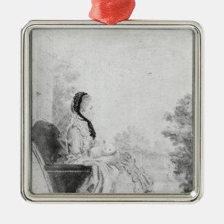Porträtt av Madam du Deffand, 1760 Julgransprydnad Metall