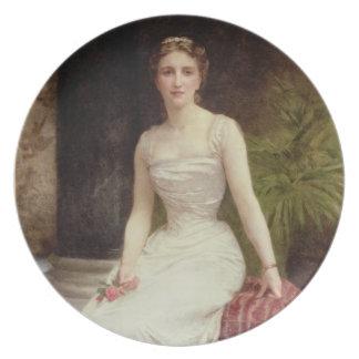 Porträtt av madamen Olry-Roederer, 1900 (olja kan  Tallrik