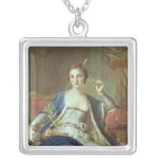 Porträtt av mademoisellen Marie Salle 1737 Silverpläterat Halsband
