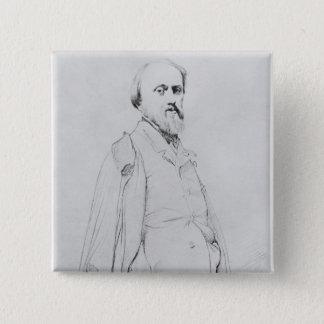 Porträtt av målare Hippolyte Flandrin Standard Kanpp Fyrkantig 5.1 Cm