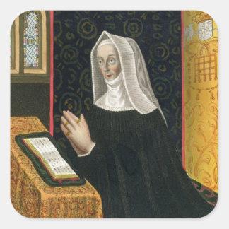 Porträtt av Margaret Beaufort, Countess av Richmon Fyrkantiga Klistermärken