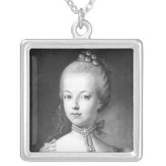 Porträtt av Marie-Antoinette av Habsburg Silverpläterat Halsband