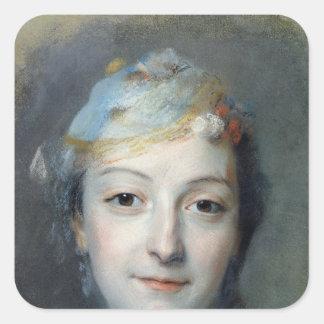 Porträtt av Marie Fel 1757 Fyrkantigt Klistermärke