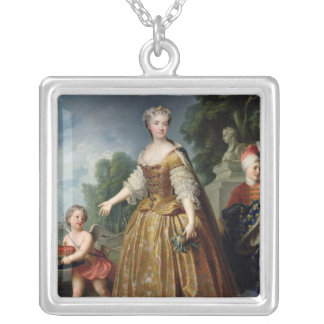Porträtt av Marie Leczinska efter 1725 Silverpläterat Halsband