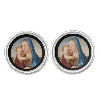 Porträtt av Mary den hållande babyen Jesus Manschettknappar