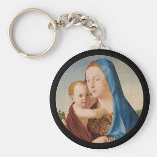 Porträtt av Mary den hållande babyen Jesus Rund Nyckelring