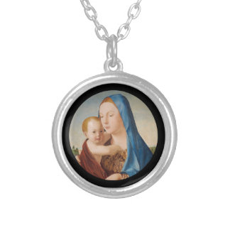 Porträtt av Mary den hållande babyen Jesus Silverpläterat Halsband