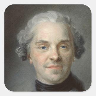 Porträtt av Maurice, Comte de Saxe 1747 Fyrkantigt Klistermärke