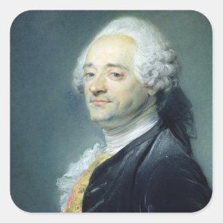 Porträtt av Maurice Quentin de la Turnera, 1750 Fyrkantigt Klistermärke