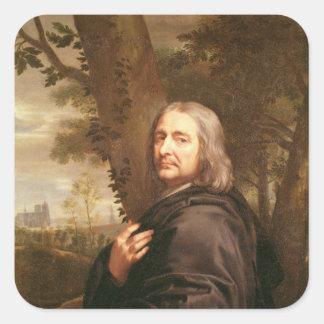 Porträtt av Philippe de Champaigne, 1668 Fyrkantigt Klistermärke