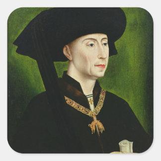 Porträtt av Philippe le Bon Duc de Bourgogne Fyrkantigt Klistermärke