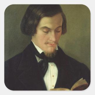 Porträtt av poeten Heinrich Heine 1842 Fyrkantigt Klistermärke