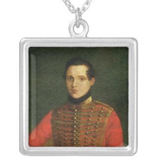 Porträtt av poeten Michail Lermontov Silverpläterat Halsband
