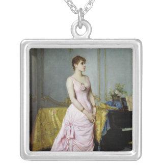 Porträtt av rosa Caron 1886 Silverpläterat Halsband