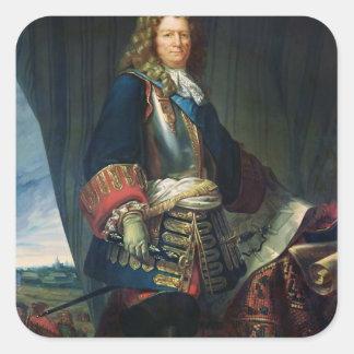Porträtt av Sebastien le Prestre de Vauban Fyrkantigt Klistermärke