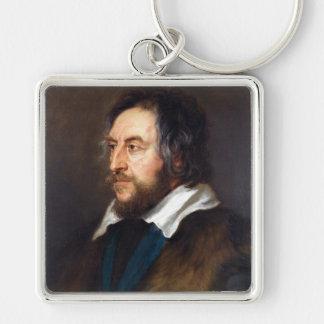 Porträtt av Thomas Howard Peter Paul Rubens Fyrkantig Silverfärgad Nyckelring