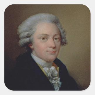 Porträtt av Wolfgang Amadeus Mozart Fyrkantigt Klistermärke