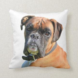 Porträtt för boxarehundfotoet dämpar kudde