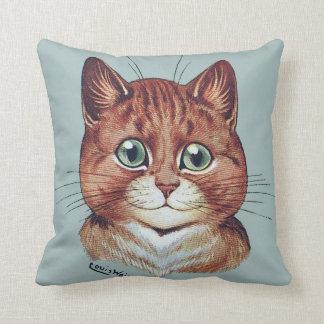 Porträtt för den vintageLouis Wain katten dämpar Kudde