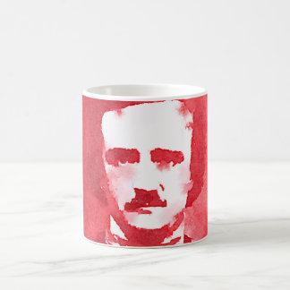 Porträtt för Edgar Allan Poe popkonst i rött Kaffemugg