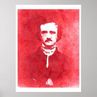 Porträtt för Edgar Allan Poe popkonst i rött Poster
