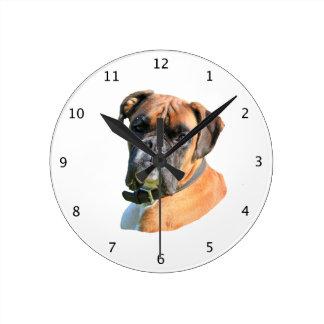 Porträtt för foto för boxarehund härligt rund klocka