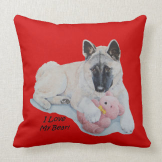 Porträtt för husdjur för nalle för Akita hundkel Kudde