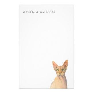 Porträtt för Sphynx kattvattenfärg med namn Brevpapper