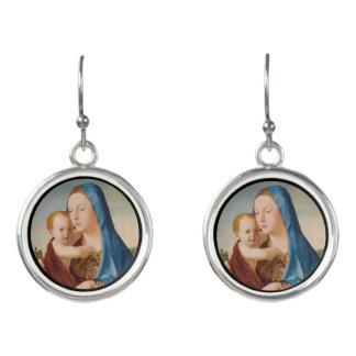 Porträtt Mary och baby Jesus Örhängen