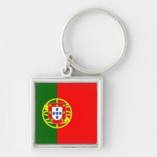 Portugal flagga Keychain Fyrkantig Silverfärgad Nyckelring