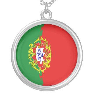 Portugal Gnarly flagga Halsband Med Rund Hängsmycke