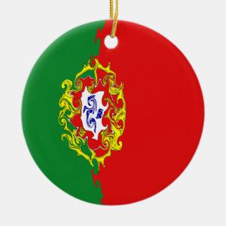 Portugal Gnarly flagga Rund Julgransprydnad I Keramik