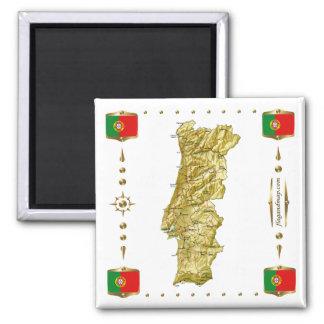 Portugal karta + Flaggormagnet Magnet För Kylskåp