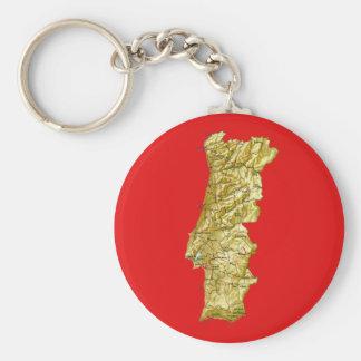 Portugal karta Keychain Rund Nyckelring