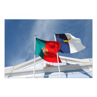 Portugal och Azores flaggor Fotontryck