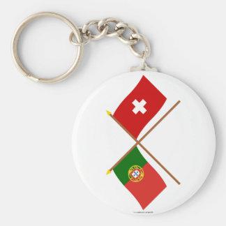 Portugal och Schweitz korsad flaggor Rund Nyckelring