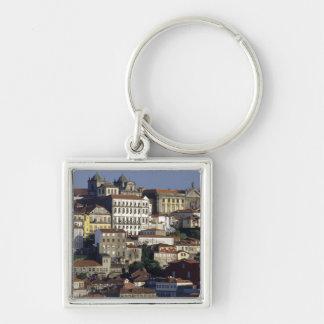 Portugal Oporto (Porto). Historiska hus och Fyrkantig Silverfärgad Nyckelring