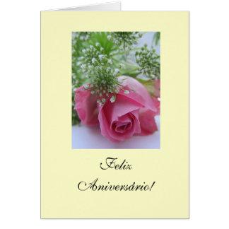 Portugis: Birthday/Rosa: Feliz Aniversário! Hälsningskort