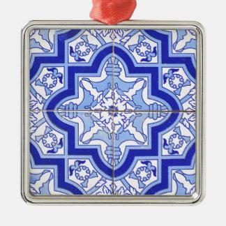 Portugisen belägger med tegel blått och vit silverfärgad fyrkantigt julgransprydnad