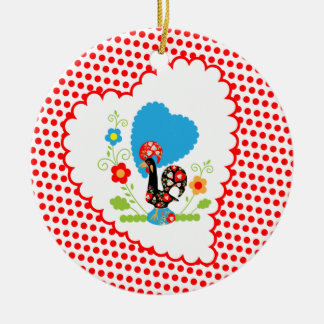 Portugisisk tupp med röd polka dots julgransprydnad keramik