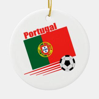 Portugisiskt fotbolllag julgransprydnad keramik