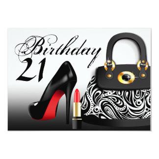 Posh handväska, högklackar och 21st födelsedag för 12,7 x 17,8 cm inbjudningskort